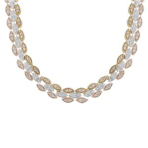 Diamond Necklace in Three Tone Gold Plated Sterling Silver 2cts