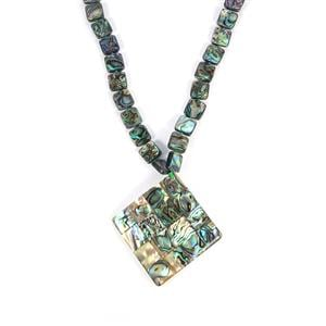 Paua Necklace with White Shell in Sterling Silver