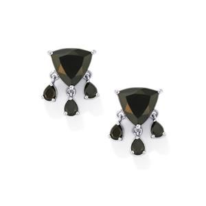 Black Spinel Earrings in Sterling Silver 8.26cts