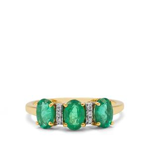 Zambian Emerald Ring with White Zircon in 9K Gold 1.45cts