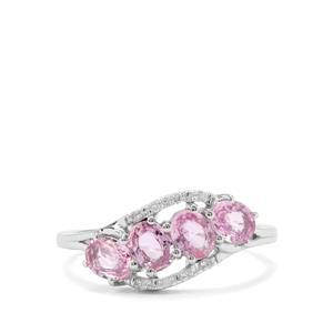 Sakaraha Pink Sapphire & Diamond 9K White Gold Ring ATGW 1.52cts