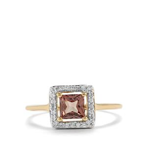 Natural Tanzanian Champagne Garnet Ring with White Zircon in 9K Gold 0.87ct