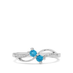 Neon Apatite & White Zircon Sterling Silver Ring ATGW 0.33cts