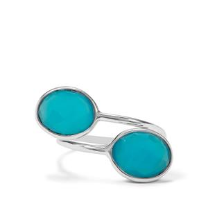 6.50ct Aqua Chalcedony Sterling Silver Aryonna Ring