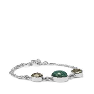 Amazonite Bracelet with Prasiolite in Sterling Silver 16cts