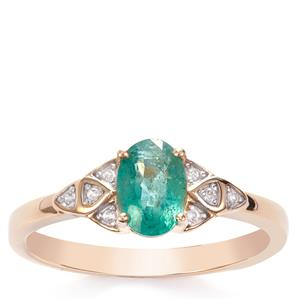 Zambian Emerald Ring with White Zircon in 9K Gold 0.81ct