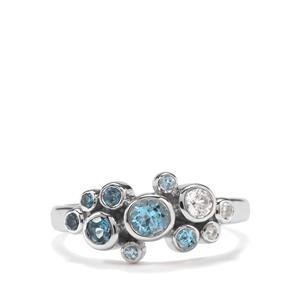 Marambaia London Blue Topaz, Swiss Blue Topaz Essencia Ring with White Zircon in Sterling Silver 0.85cts