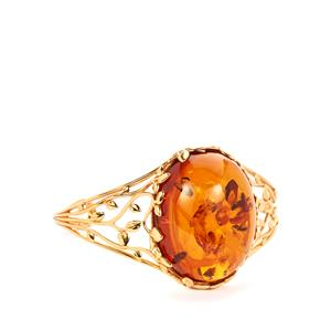 Baltic Cognac Amber Bangle  in Gold Tone Sterling Silver (36x29mm)