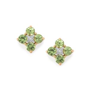 Ambanja Demantoid Garnet Earrings with Diamond in 9K Gold 1.68cts