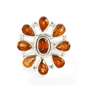 Mandarin Garnet & Kurundu Garnet Sterling Silver Aryonna Ring ATGW 4.46cts
