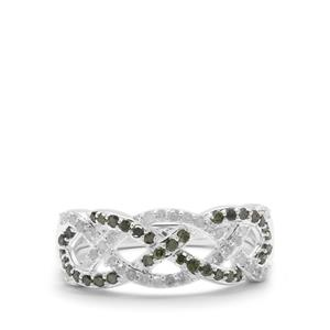 Green Diamond Ring with White Diamond in Sterling Silver 0.53ct