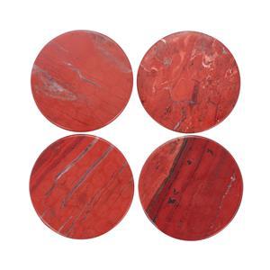 - Set of 4 Red Jasper Coasters ATGW 1250cts