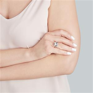 White Quartz & White Topaz Sterling Silver Barion Cut Ring ATGW 5.65cts