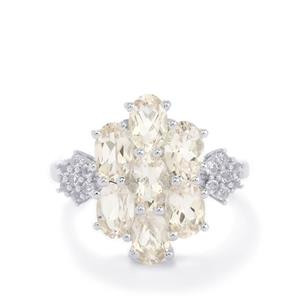 Zambezia Morganite & White Topaz Sterling Silver Ring ATGW 3.01cts