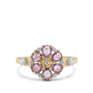 Rose Cut Purple Sapphire & White Zircon 9K Gold Ring ATGW 1.11cts