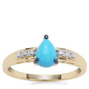Sleeping Beauty Turquoise Ring with Diamond in 9K Gold 0.71ct