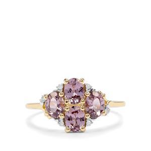 Mahenge Purple Spinel & Diamond 10K Gold Ring ATGW 1.42cts