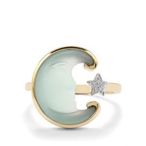 Lehrer Man in the Moon Aqua Chalcedony & Diamond 10K Gold Ring ATGW 3.86cts