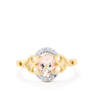 Mutala Morganite Ring with White Zircon in 10K Gold 1.18cts