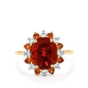 Tarocco Red Andesine Ring with Cognac Zircon & White Zircon in 10K Gold 2.84cts