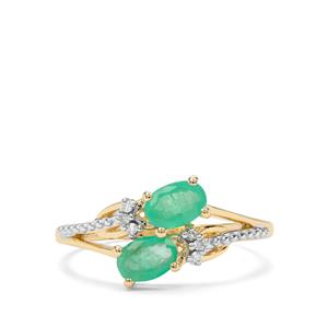 Colombian Emerald Earrings with White Diamond in 9k Gold 0.79ct