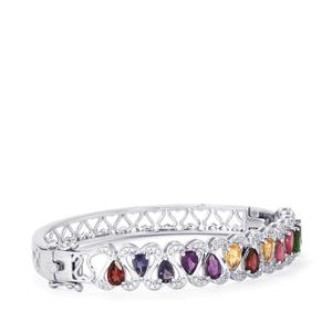 Kaleidoscope Gemstones Oval Bangle in Sterling Silver 6.35cts
