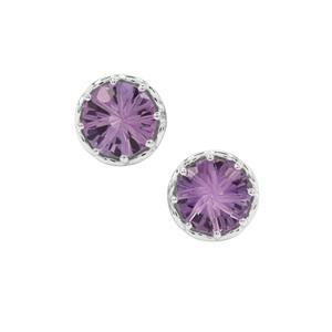 Honeycomb Cut Bahia Amethyst Earrings in Sterling Silver 3.45cts