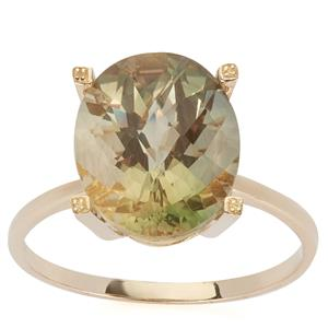 Green Andesine Ring in 9K Gold 4.02cts