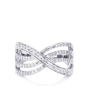 Diamond Ring in Sterling Silver 0.52cts