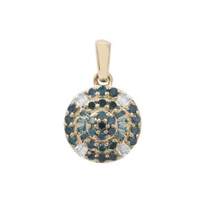 Blue Diamond Pendant with White Diamond in 9K Gold 0.34ct