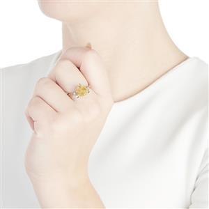 Oregon Sunstone & Diamond 14k White Gold Tomas Rae Ring ATGW 2.86cts
