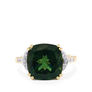 Natural Green Apatite & Diamond 14K Gold Tomas Rae Ring ATGW 7.26cts