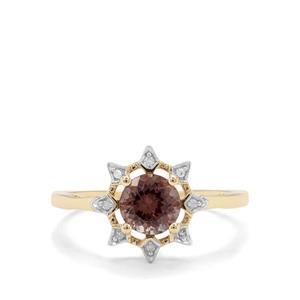 Bekily Colour Change Garnet & Diamond 9K Gold Ring ATGW 1cts