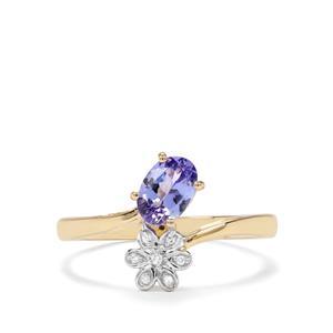 AA Tanzanite & Diamond 9K Gold Ring ATGW 0.67cts