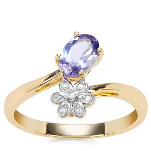 AA Tanzanite Ring with Diamond in 9K Gold 0.67ct
