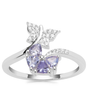 Tanzanite Ring with White Zircon in Sterling Silver 0.60ct