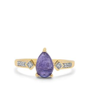 AAA Tanzanite Ring with White Zircon in 9K Gold 1.95cts