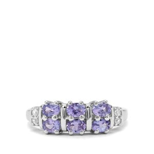 AA Tanzanite & White Zircon Sterling Silver Ring ATGW 1.18cts