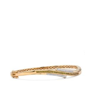 Apache Demantoid Garnet Oval Bangle with Diamond in 18K Gold 1.13cts