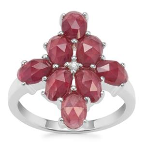 Rose Cut Moramanga Ruby Ring With White Zircon in Sterling Silver 4.02cts (F)