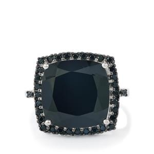 Black Spinel Ring in Sterling Silver 13.93cts