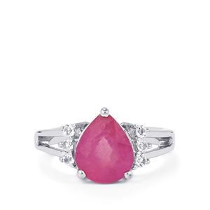 Ilakaka Hot Pink Sapphire & White Topaz Sterling Silver Ring ATGW 4.60cts (F)