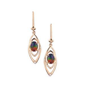 Ammolite Earrings with White Zircon in 9K Gold