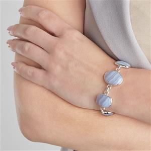 Blue Lace Agate Bracelet in Sterling Silver 50.11cts