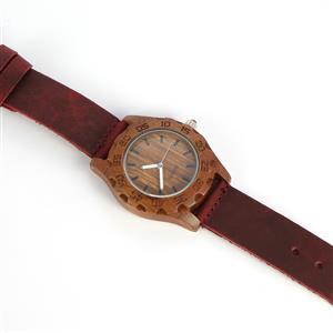 Smokey Quartz Zebrawood Burgundy Genuine Leather Strap Watch