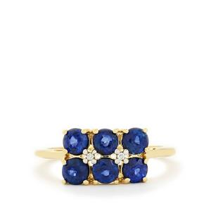 Sri Lankan Sapphire & White Zircon 9K Gold Ring ATGW 1.69cts