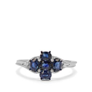 Australian Blue Sapphire Ring with Diamond in 9K White Gold 1.10cts