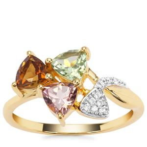 Multi-Colour Tourmaline Ring with White Zircon in Gold Plated Sterling Silver 1.27cts
