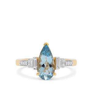 Nigerian Aquamarine & Diamond 18K Gold Tomas Rae Ring MTGW 1.75cts