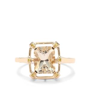 Cuprian Sunstone Ring with Yellow Diamond in 9K Gold 2.07cts